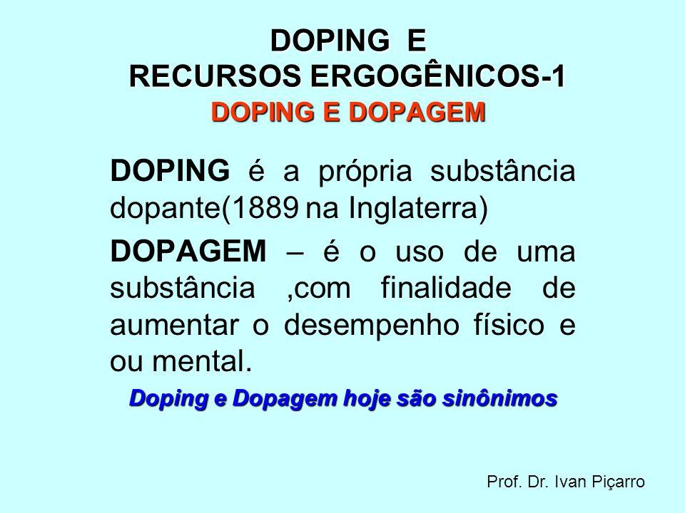 DOPING E RECURSOS ERGOGÊNICOS-2 DOPING E DOPAGEM é considerado DOPING a utilização de qualquer substância ou método artificial que melhore a performance física e ou mental, ou que cause danos em potencial a saúde dos atletas.