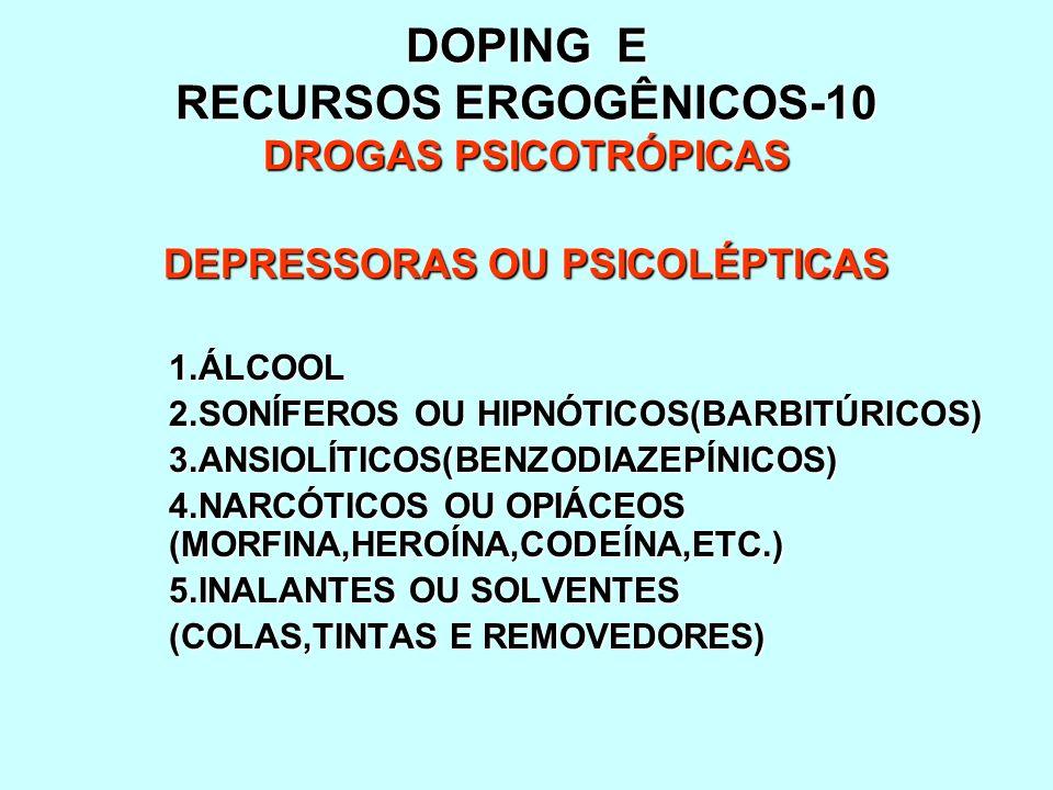 DOPING E RECURSOS ERGOGÊNICOS-10 DROGAS PSICOTRÓPICAS DEPRESSORAS OU PSICOLÉPTICAS 1.ÁLCOOL 2.SONÍFEROS OU HIPNÓTICOS(BARBITÚRICOS) 3.ANSIOLÍTICOS(BEN