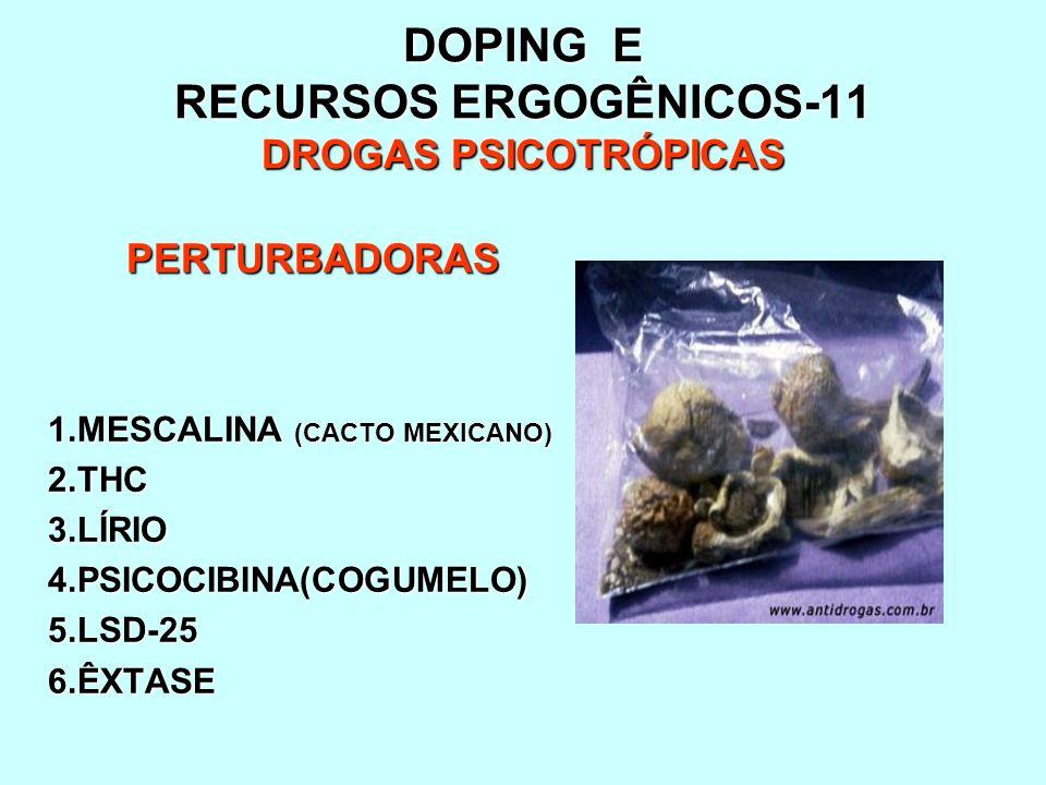 DOPING E RECURSOS ERGOGÊNICOS-11 DROGAS PSICOTRÓPICAS PERTURBADORAS 1.MESCALINA (CACTO MEXICANO) 2.THC3.LÍRIO4.PSICOCIBINA(COGUMELO)5.LSD-256.ÊXTASE