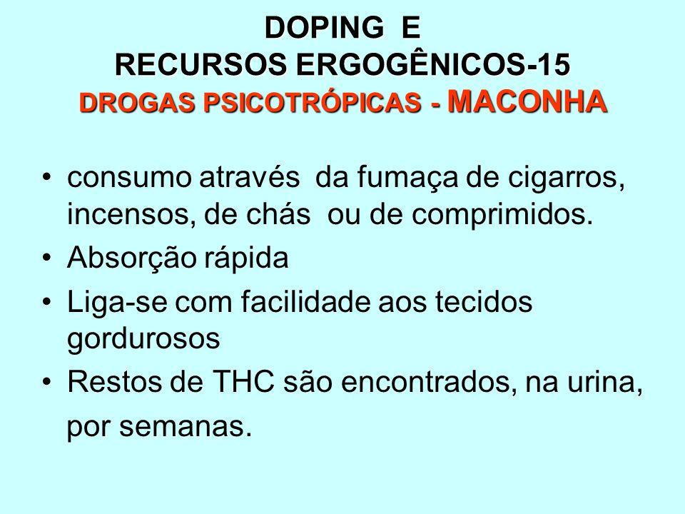 DOPING E RECURSOS ERGOGÊNICOS-15 DROGAS PSICOTRÓPICAS - MACONHA consumo através da fumaça de cigarros, incensos, de chás ou de comprimidos. Absorção r