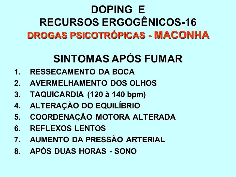 DOPING E RECURSOS ERGOGÊNICOS-16 DROGAS PSICOTRÓPICAS - MACONHA SINTOMAS APÓS FUMAR 1.RESSECAMENTO DA BOCA 2.AVERMELHAMENTO DOS OLHOS 3.TAQUICARDIA (1