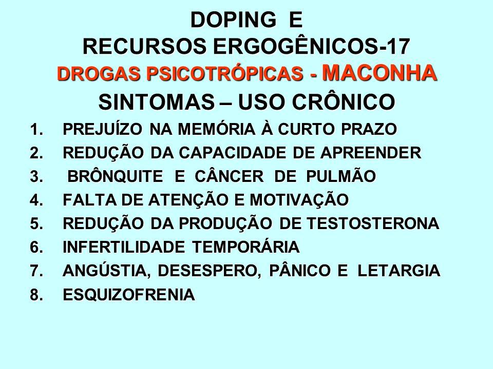 DOPING E RECURSOS ERGOGÊNICOS-17 DROGAS PSICOTRÓPICAS - MACONHA SINTOMAS – USO CRÔNICO 1.PREJUÍZO NA MEMÓRIA À CURTO PRAZO 2.REDUÇÃO DA CAPACIDADE DE