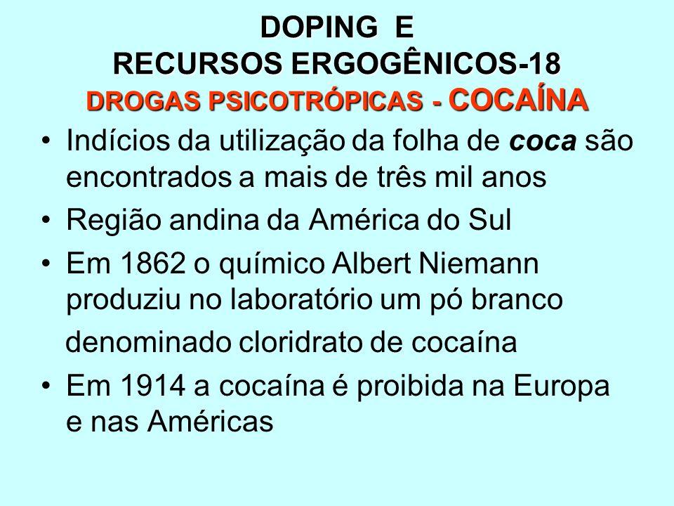 DOPING E RECURSOS ERGOGÊNICOS-18 DROGAS PSICOTRÓPICAS - COCAÍNA Indícios da utilização da folha de coca são encontrados a mais de três mil anos Região