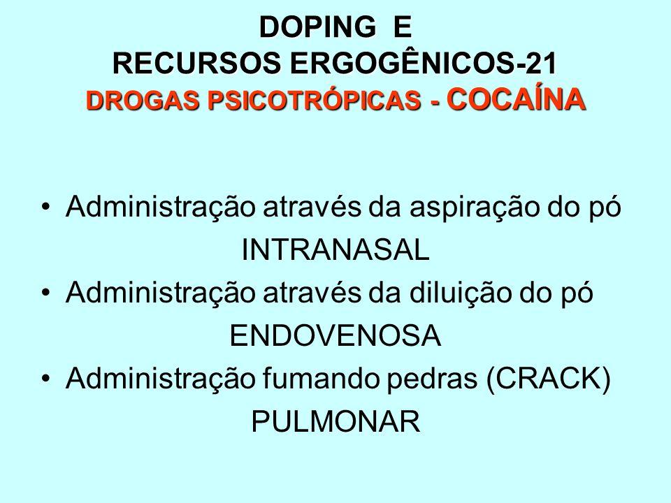 DOPING E RECURSOS ERGOGÊNICOS-21 DROGAS PSICOTRÓPICAS - COCAÍNA Administração através da aspiração do pó INTRANASAL Administração através da diluição