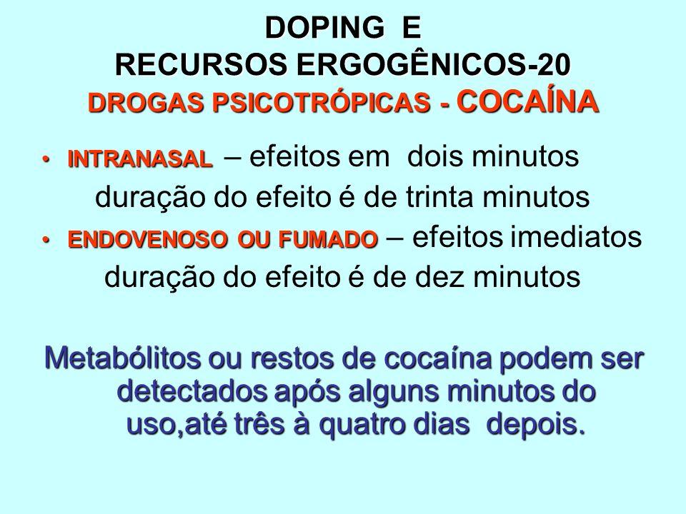 DOPING E RECURSOS ERGOGÊNICOS-20 DROGAS PSICOTRÓPICAS - COCAÍNA INTRANASALINTRANASAL – efeitos em dois minutos duração do efeito é de trinta minutos E