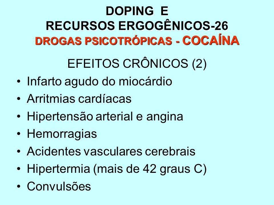 DOPING E RECURSOS ERGOGÊNICOS-26 DROGAS PSICOTRÓPICAS - COCAÍNA EFEITOS CRÔNICOS (2) Infarto agudo do miocárdio Arritmias cardíacas Hipertensão arteri
