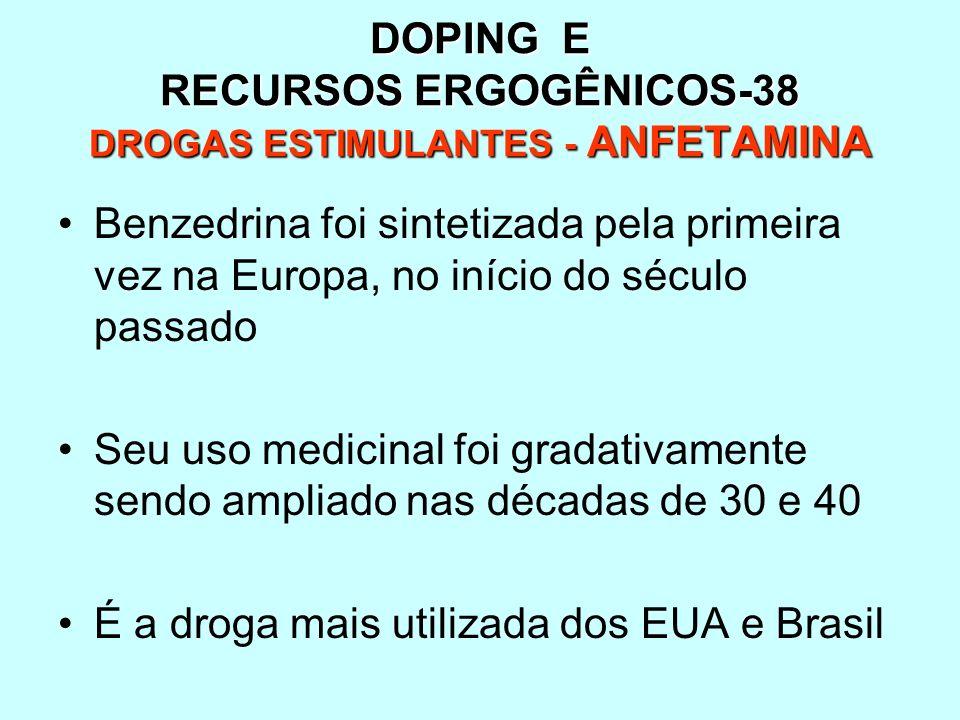DOPING E RECURSOS ERGOGÊNICOS-38 DROGAS ESTIMULANTES - ANFETAMINA Benzedrina foi sintetizada pela primeira vez na Europa, no início do século passado