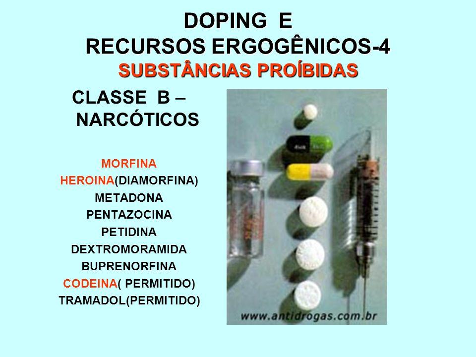 DOPING E RECURSOS ERGOGÊNICOS-4 SUBSTÂNCIAS PROÍBIDAS CLASSE B – NARCÓTICOS MORFINA HEROINA(DIAMORFINA) METADONA PENTAZOCINA PETIDINA DEXTROMORAMIDA B