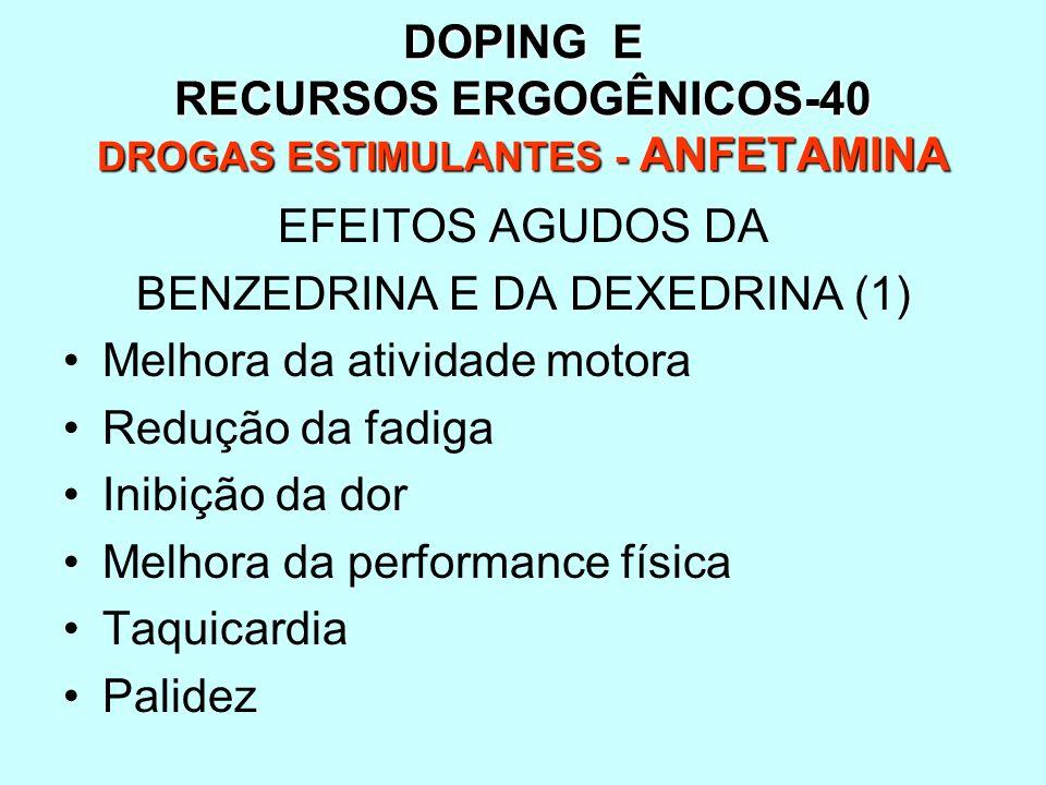 DOPING E RECURSOS ERGOGÊNICOS-40 DROGAS ESTIMULANTES - ANFETAMINA EFEITOS AGUDOS DA BENZEDRINA E DA DEXEDRINA (1) Melhora da atividade motora Redução