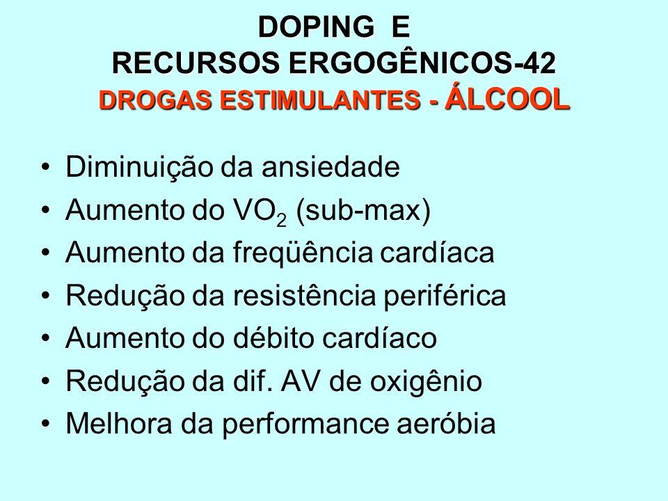 DOPING E RECURSOS ERGOGÊNICOS-42 DROGAS ESTIMULANTES - ÁLCOOL Diminuição da ansiedade Aumento do VO 2 (sub-max) Aumento da freqüência cardíaca Redução