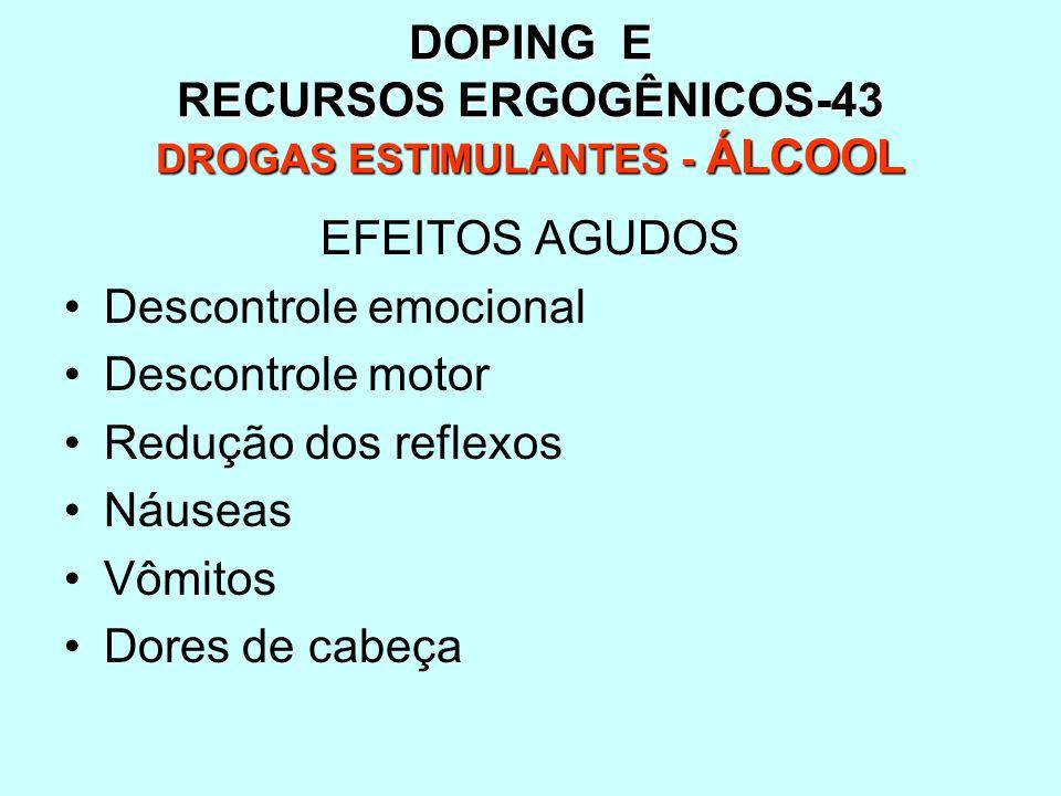 DOPING E RECURSOS ERGOGÊNICOS-43 DROGAS ESTIMULANTES - ÁLCOOL EFEITOS AGUDOS Descontrole emocional Descontrole motor Redução dos reflexos Náuseas Vômi