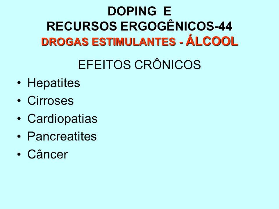 DOPING E RECURSOS ERGOGÊNICOS-44 DROGAS ESTIMULANTES - ÁLCOOL EFEITOS CRÔNICOS Hepatites Cirroses Cardiopatias Pancreatites Câncer