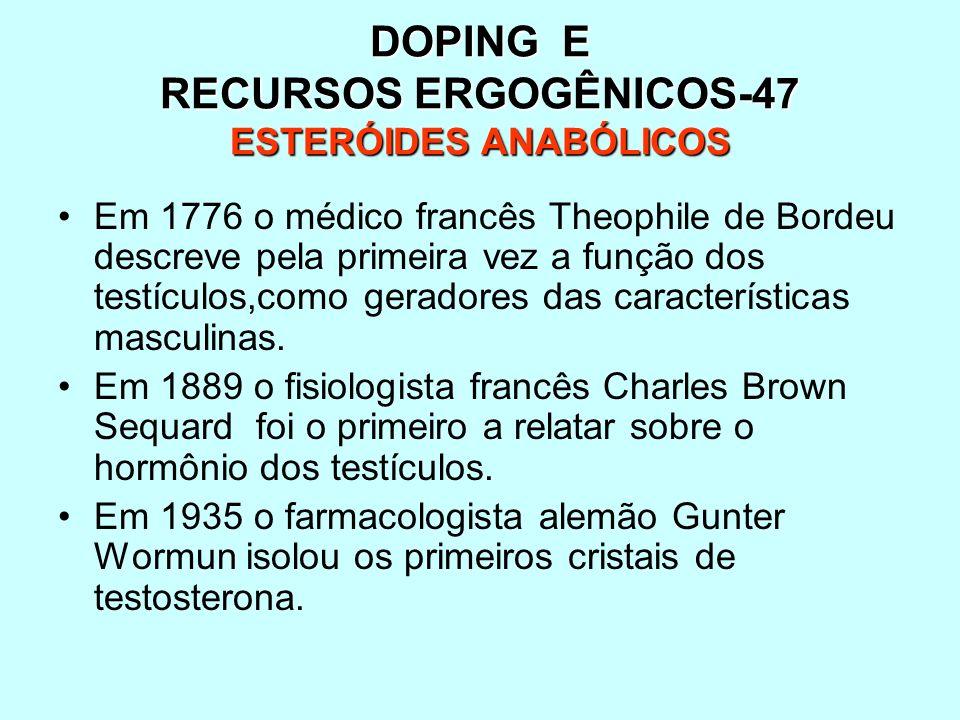 DOPING E RECURSOS ERGOGÊNICOS-47 ESTERÓIDES ANABÓLICOS Em 1776 o médico francês Theophile de Bordeu descreve pela primeira vez a função dos testículos