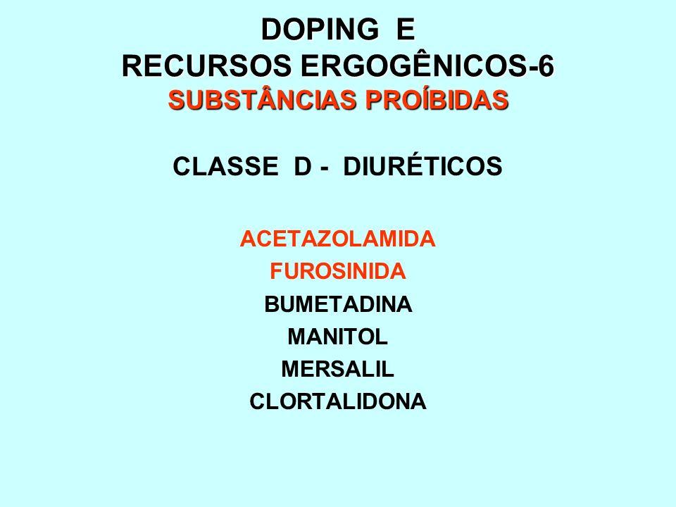 DOPING E RECURSOS ERGOGÊNICOS-7 SUBSTÂNCIAS PROÍBIDAS CLASSE E - HORMÔNIOS PEPTÍDEOS MIMÉTICOS e ANÁLOGOS HORMÔNIO DO CRESCIMENTO(hGH) GONADOTROFINA CORIÔNICA(hCG) GONADOTROFINA PITUITÁRIA(LH) CORTICOTROFINAS(ACTH) FATOR DE CRESCIMENTO INSULÍNICO(IGF-1) ERITROPOIETINA(EPO) INSULINA