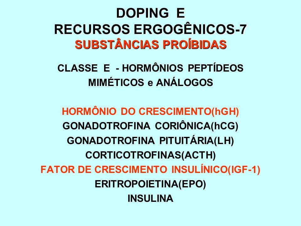 DOPING E RECURSOS ERGOGÊNICOS-7 SUBSTÂNCIAS PROÍBIDAS CLASSE E - HORMÔNIOS PEPTÍDEOS MIMÉTICOS e ANÁLOGOS HORMÔNIO DO CRESCIMENTO(hGH) GONADOTROFINA C