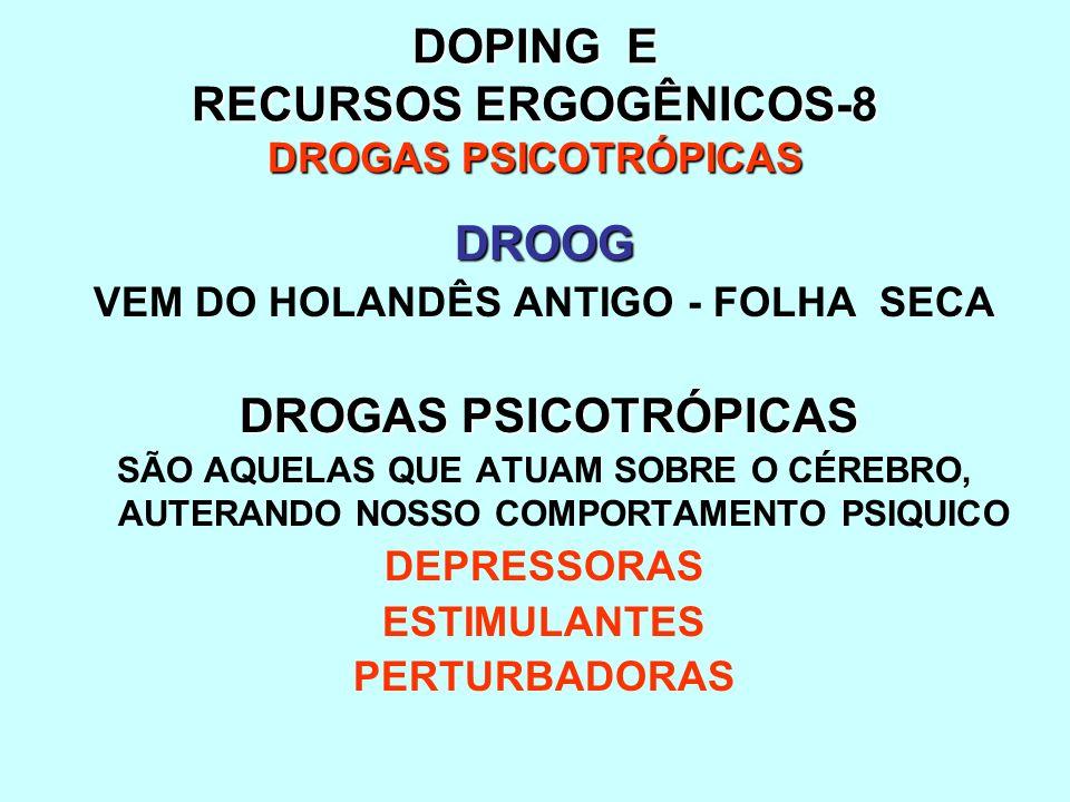 DOPING E RECURSOS ERGOGÊNICOS-8 DROGAS PSICOTRÓPICAS DROOG VEM DO HOLANDÊS ANTIGO - FOLHA SECA DROGAS PSICOTRÓPICAS SÃO AQUELAS QUE ATUAM SOBRE O CÉRE