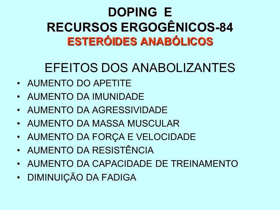 DOPING E RECURSOS ERGOGÊNICOS-84 ESTERÓIDES ANABÓLICOS EFEITOS DOS ANABOLIZANTES AUMENTO DO APETITE AUMENTO DA IMUNIDADE AUMENTO DA AGRESSIVIDADE AUME