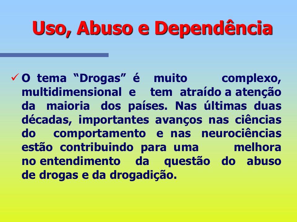 Uso, Abuso e Dependência Neurologicamente a drogadição deve ser considerada uma doença. Ela está ligada a alterações na estrutura e funções cerebrais,