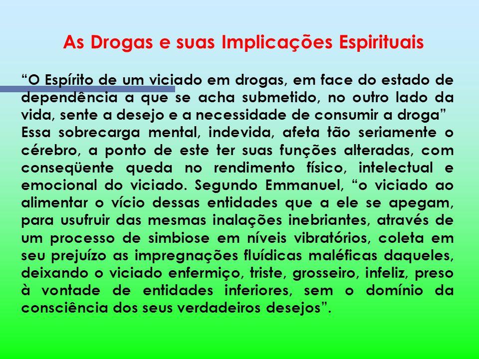 As Drogas e suas Implicações Espirituais A ação dos Espíritos inferiores junto ao viciado Esta ação pode ser percebida através das alterações no compo