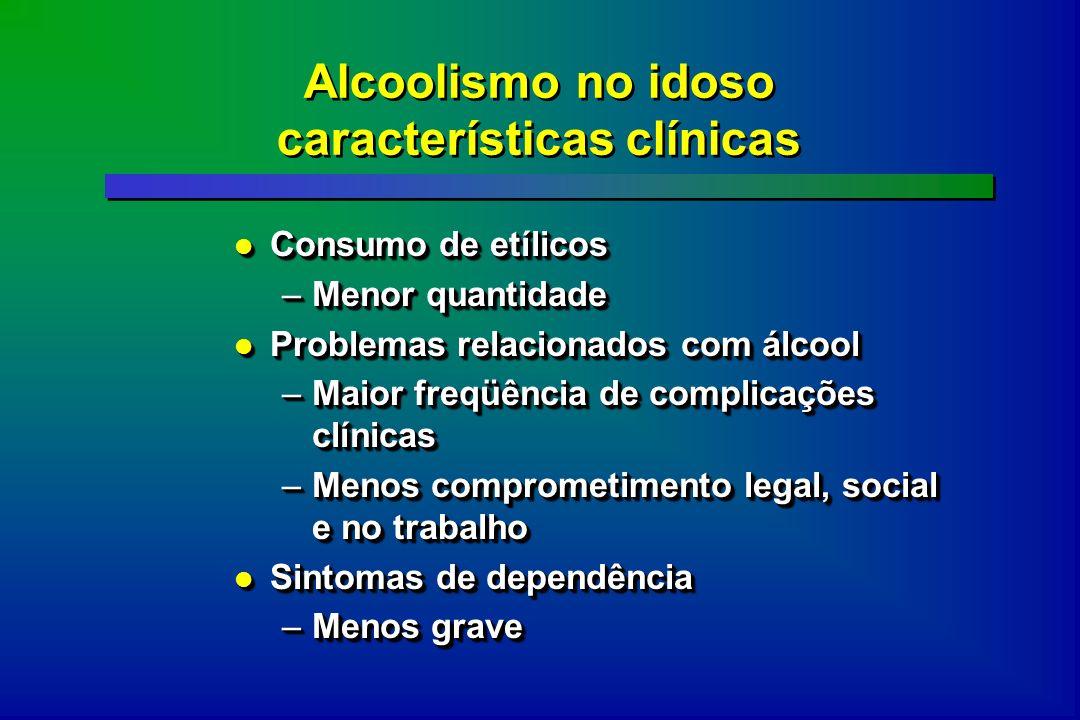Alcoolismo no idoso características clínicas Consumo de etílicos Consumo de etílicos –Menor quantidade Problemas relacionados com álcool Problemas rel