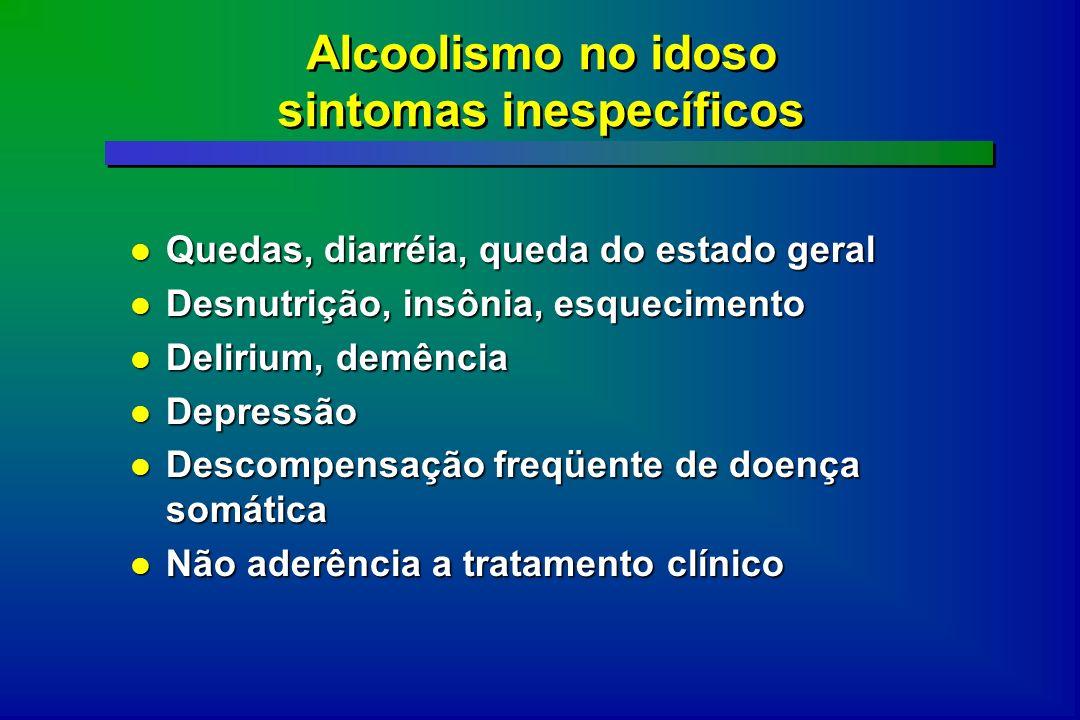 Alcoolismo no idoso sintomas inespecíficos Quedas, diarréia, queda do estado geral Quedas, diarréia, queda do estado geral Desnutrição, insônia, esque