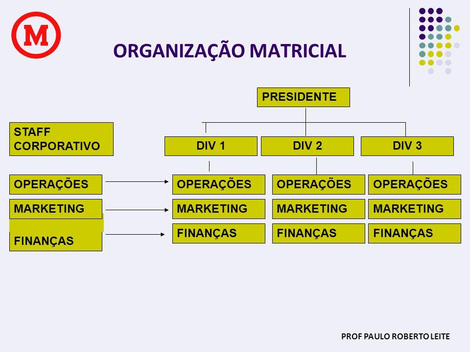 PROF PAULO ROBERTO LEITE ORGANIZAÇÃO MATRICIAL FINANÇAS MARKETING OPERAÇÕES MARKETING FINANÇAS MARKETING OPERAÇÕES FINANÇAS PRESIDENTE OPERAÇÕES MARKE
