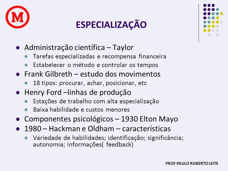 PROF PAULO ROBERTO LEITE ESPECIALIZAÇÃO Administração científica – Taylor Tarefas especializadas e recompensa financeira Estabelecer o método e contro
