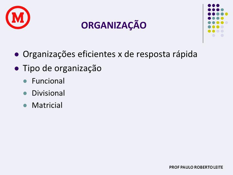PROF PAULO ROBERTO LEITE ORGANIZAÇÃO Organizações eficientes x de resposta rápida Tipo de organização Funcional Divisional Matricial