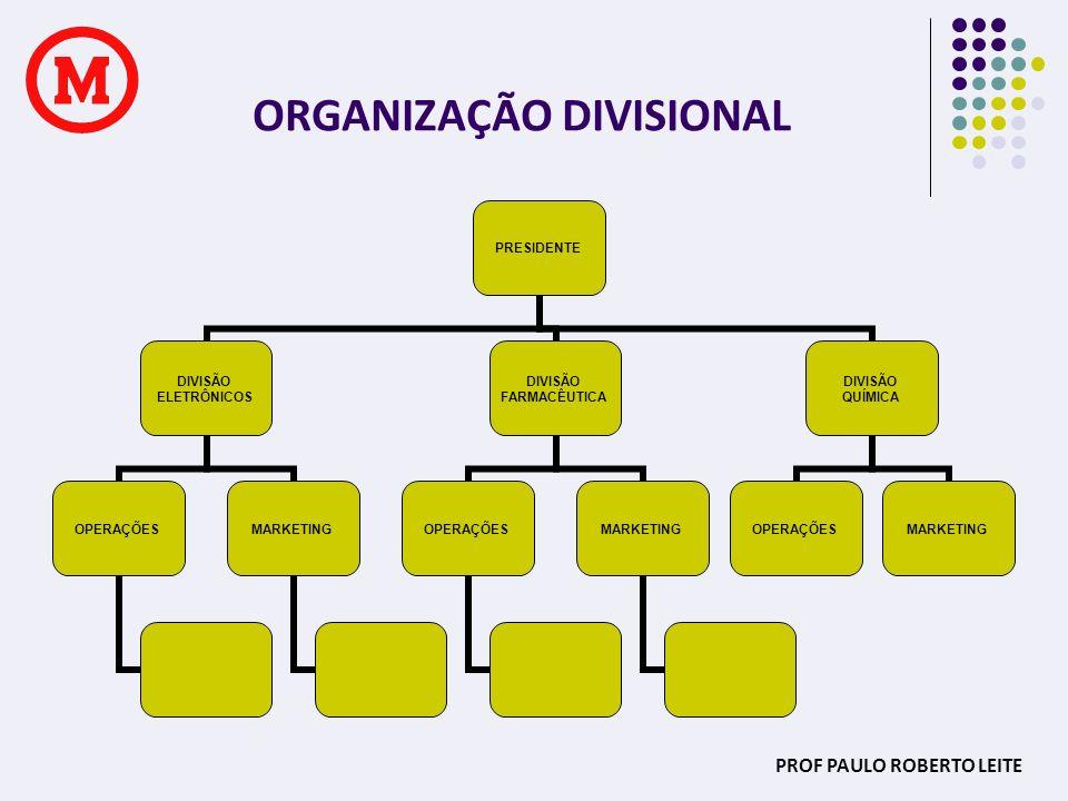 PROF PAULO ROBERTO LEITE ORGANIZAÇÃO MATRICIAL FINANÇAS MARKETING OPERAÇÕES MARKETING FINANÇAS MARKETING OPERAÇÕES FINANÇAS PRESIDENTE OPERAÇÕES MARKETING STAFF CORPORATIVO DIV 1DIV 2DIV 3