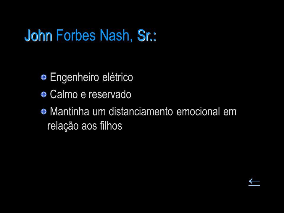 JohnSr.: John Forbes Nash, Sr.: Engenheiro elétrico Calmo e reservado Mantinha um distanciamento emocional em relação aos filhos