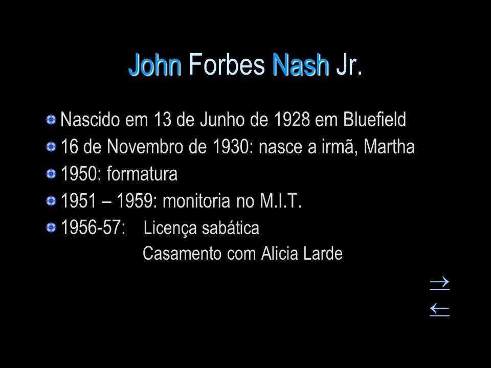 JohnNash John Forbes Nash Jr. Nascido em 13 de Junho de 1928 em Bluefield 16 de Novembro de 1930: nasce a irmã, Martha 1950: formatura 1951 – 1959: mo