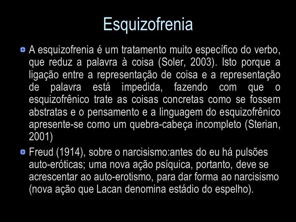 Esquizofrenia A esquizofrenia é um tratamento muito específico do verbo, que reduz a palavra à coisa (Soler, 2003). Isto porque a ligação entre a repr