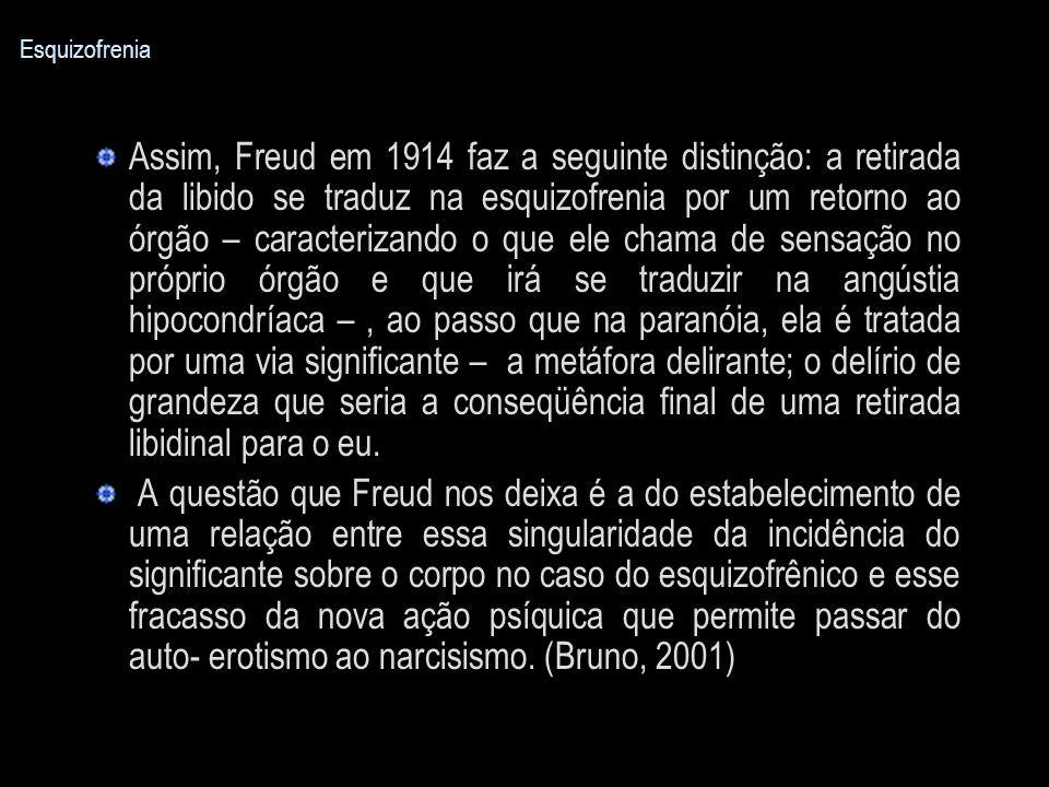 Esquizofrenia Assim, Freud em 1914 faz a seguinte distinção: a retirada da libido se traduz na esquizofrenia por um retorno ao órgão – caracterizando
