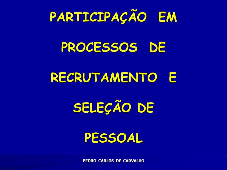 PARTICIPAÇÃO EM PROCESSOS DE RECRUTAMENTO E SELEÇÃO DE PESSOAL PEDRO CARLOS DE CARVALHO