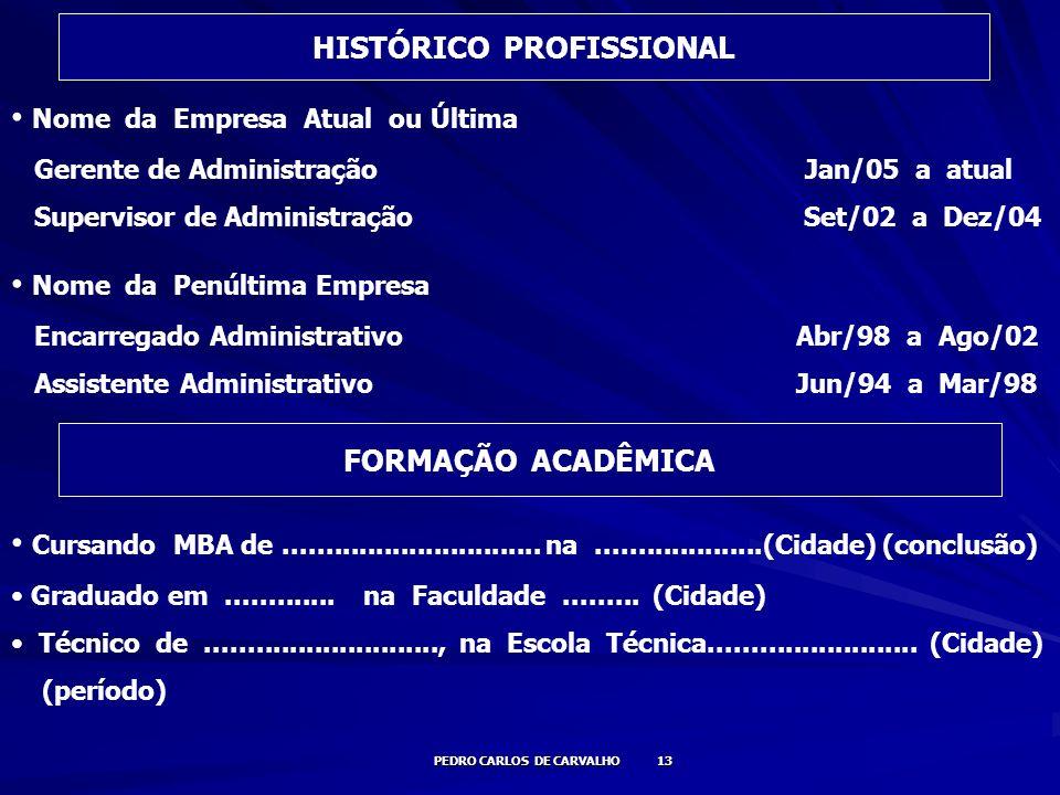 PEDRO CARLOS DE CARVALHO 13 Nome da Empresa Atual ou Última Gerente de Administração Jan/05 a atual Supervisor de Administração Set/02 a Dez/04 Nome d