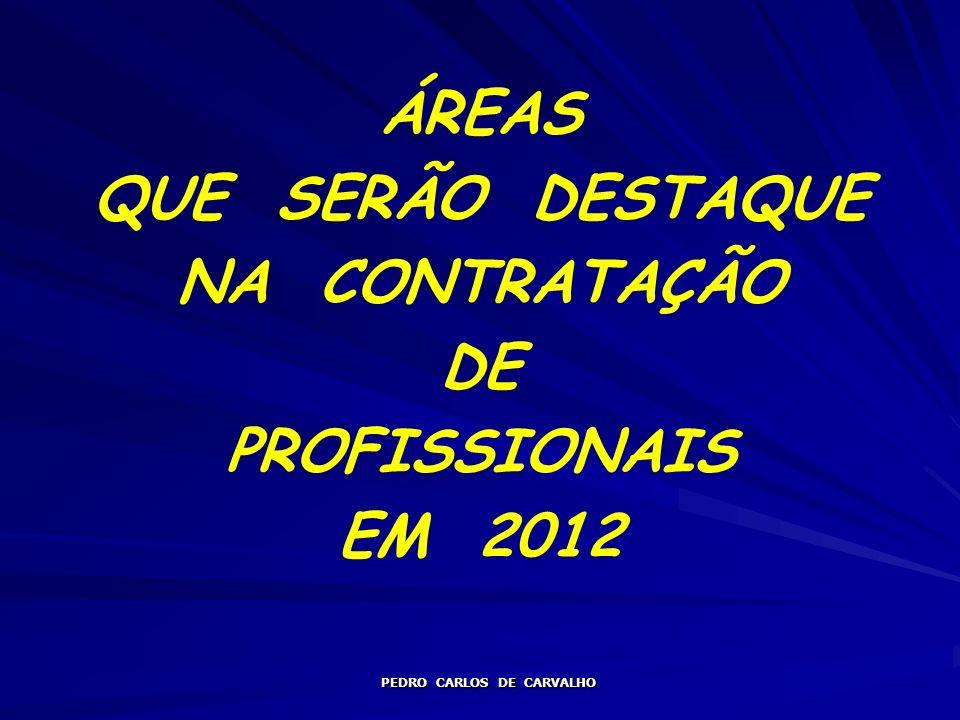 ÁREAS QUE SERÃO DESTAQUE NA CONTRATAÇÃO DE PROFISSIONAIS EM 2012 PEDRO CARLOS DE CARVALHO