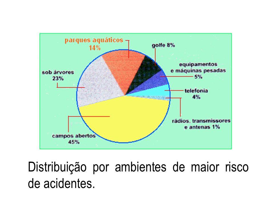 Distribuição por ambientes de maior risco de acidentes.