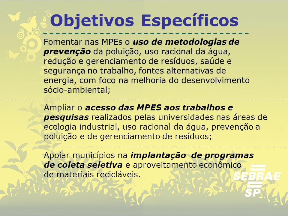 Objetivos Específicos Fomentar nas MPEs o uso de metodologias de prevenção da poluição, uso racional da água, redução e gerenciamento de resíduos, saú