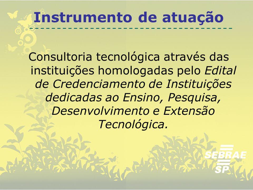 Consultoria tecnológica através das instituições homologadas pelo Edital de Credenciamento de Instituições dedicadas ao Ensino, Pesquisa, Desenvolvime