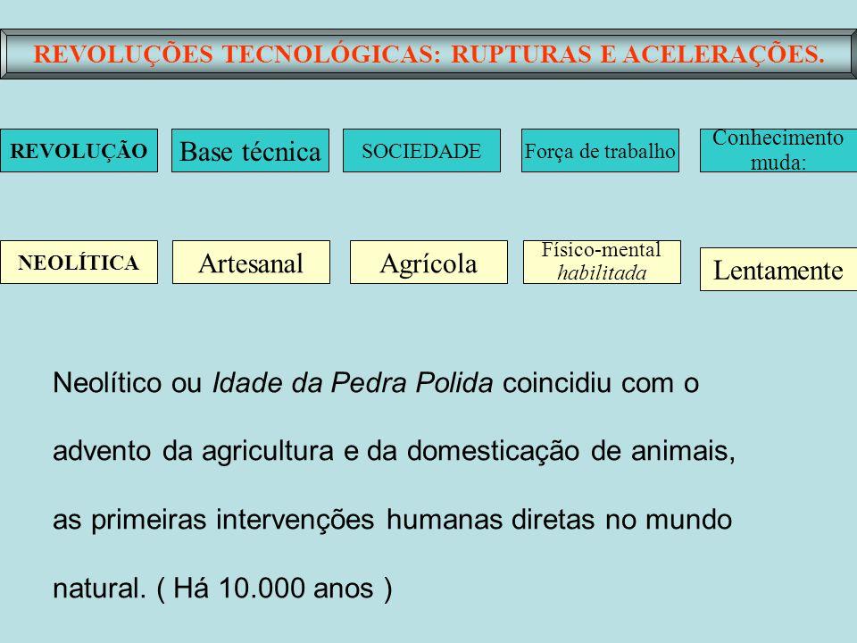 REVOLUÇÕES TECNOLÓGICAS: RUPTURAS E ACELERAÇÕES. Base técnica SOCIEDADEForça de trabalho Conhecimento muda: ArtesanalAgrícola Físico-mental habilitada