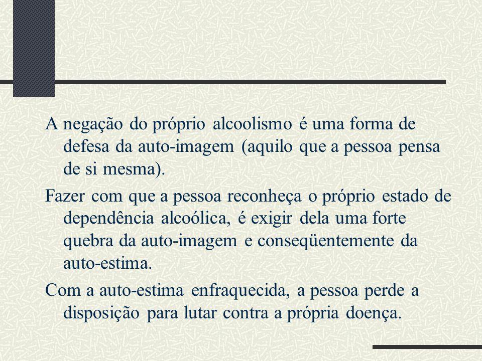 A negação do próprio alcoolismo é uma forma de defesa da auto-imagem (aquilo que a pessoa pensa de si mesma). Fazer com que a pessoa reconheça o própr