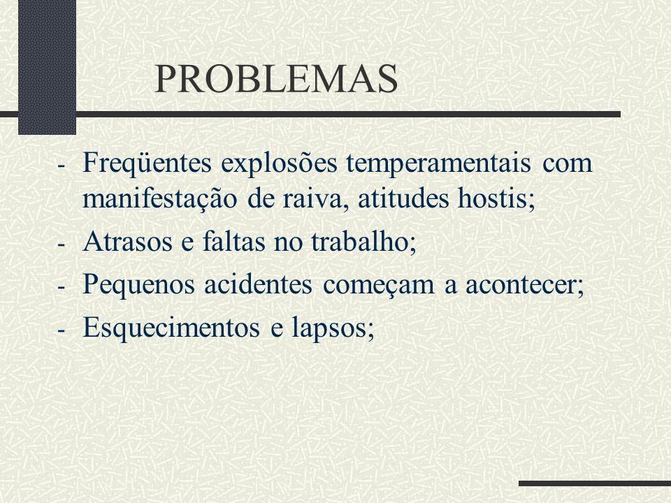 PROBLEMAS - Freqüentes explosões temperamentais com manifestação de raiva, atitudes hostis; - Atrasos e faltas no trabalho; - Pequenos acidentes começ
