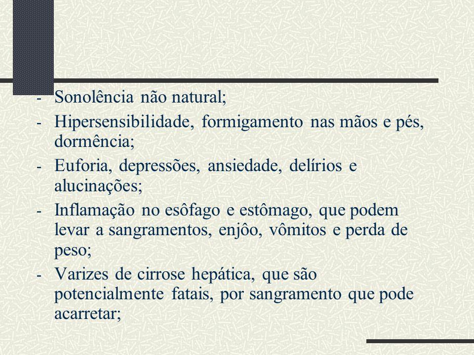 - Sonolência não natural; - Hipersensibilidade, formigamento nas mãos e pés, dormência; - Euforia, depressões, ansiedade, delírios e alucinações; - In