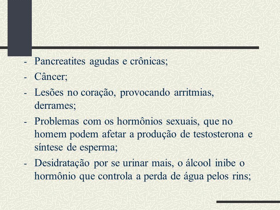 - Pancreatites agudas e crônicas; - Câncer; - Lesões no coração, provocando arritmias, derrames; - Problemas com os hormônios sexuais, que no homem po
