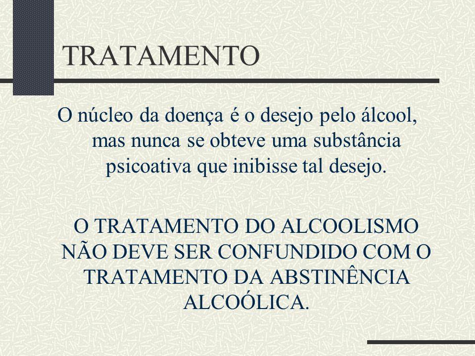 TRATAMENTO O núcleo da doença é o desejo pelo álcool, mas nunca se obteve uma substância psicoativa que inibisse tal desejo. O TRATAMENTO DO ALCOOLISM