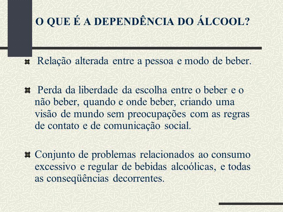 O QUE É A DEPENDÊNCIA DO ÁLCOOL? Relação alterada entre a pessoa e modo de beber. Perda da liberdade da escolha entre o beber e o não beber, quando e