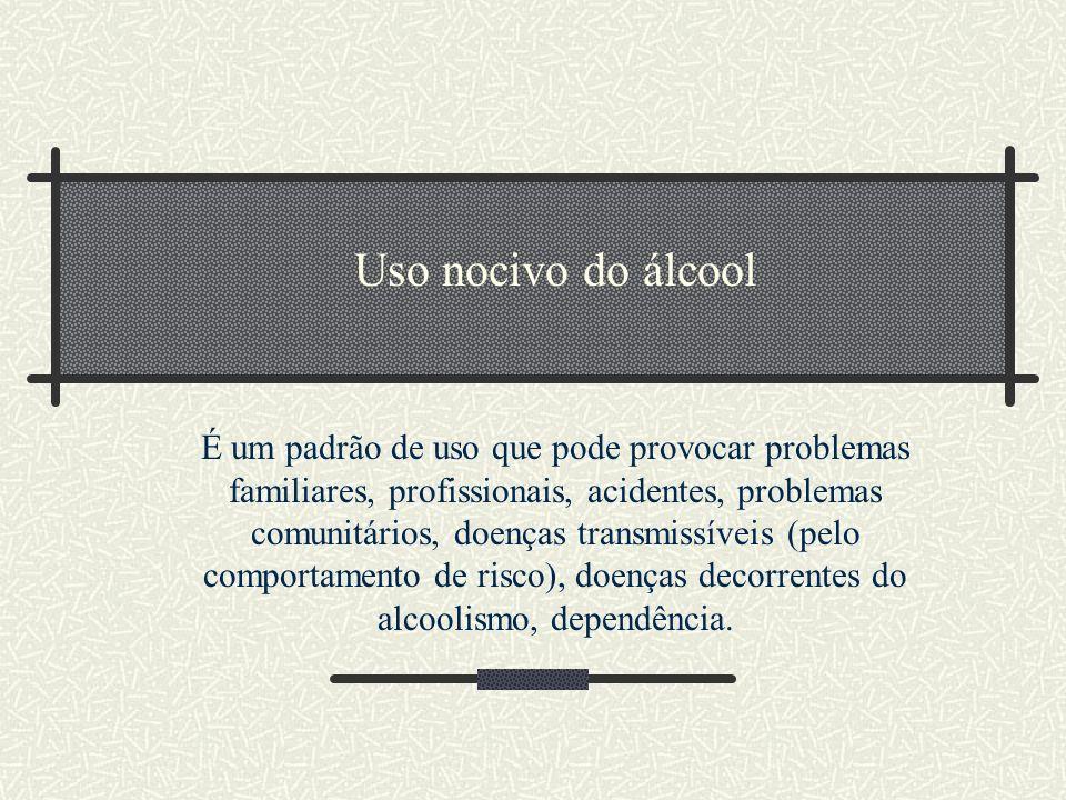 Uso nocivo do álcool É um padrão de uso que pode provocar problemas familiares, profissionais, acidentes, problemas comunitários, doenças transmissíve