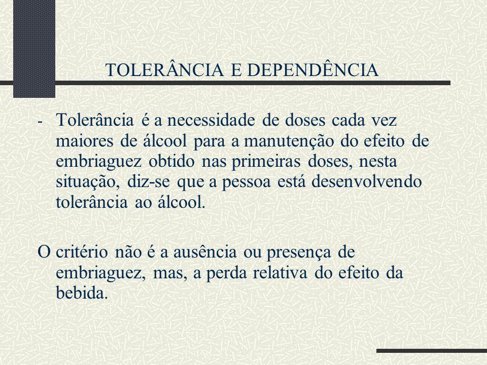 TOLERÂNCIA E DEPENDÊNCIA - Tolerância é a necessidade de doses cada vez maiores de álcool para a manutenção do efeito de embriaguez obtido nas primeir