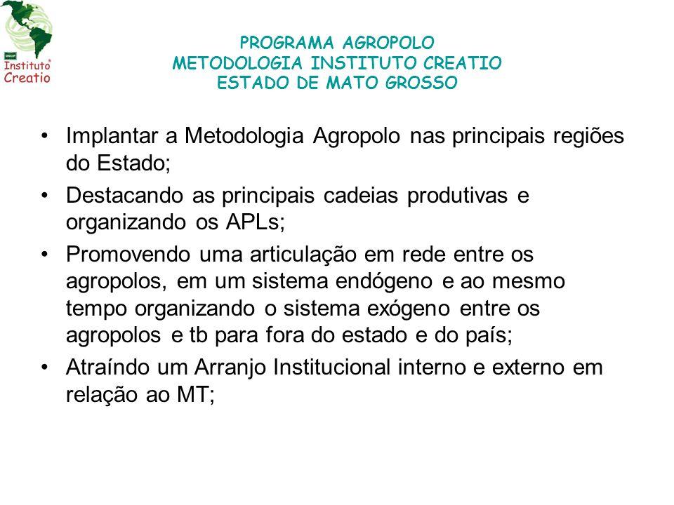 PROGRAMA AGROPOLO METODOLOGIA INSTITUTO CREATIO ESTADO DE MATO GROSSO Implantar a Metodologia Agropolo nas principais regiões do Estado; Destacando as