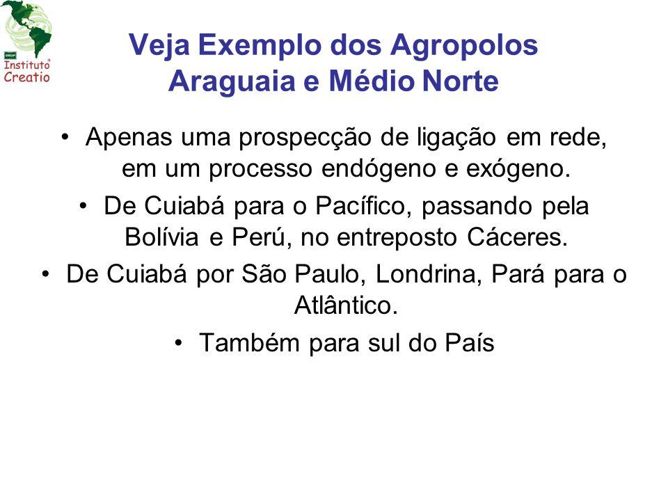Veja Exemplo dos Agropolos Araguaia e Médio Norte Apenas uma prospecção de ligação em rede, em um processo endógeno e exógeno. De Cuiabá para o Pacífi